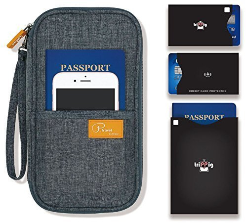 P.travel Passport wallet Linene Gray with RFID Stop