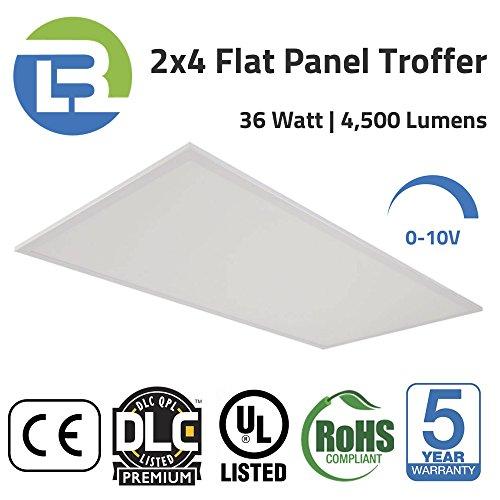 36 Watt 4000K 2×4 LED DLC Premium Listed Flat Panel Lay-In Grid Ceiling Recessed Troffer Light Fixture. 3bl LED, Dimmable, 125 Lumens Per Watt, 4,556 Lumens, 80+ CRI, UL Certified.