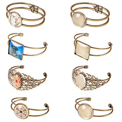 SUNNYCLUE 8PCS 4 Styles Bezel Tray Blank Cuff Bangles Bracelet with 8pcs Round Oval Square Clear Cabochon Glass Dome, 4Style(2pcs/Style), Antique Bronze