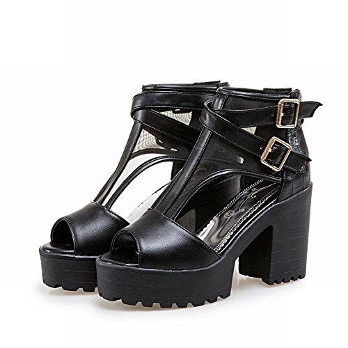 Carolbar Women's Western Peep Toe High Heel Platform Zip Casual Sandals Black xsNP3