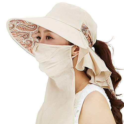 Siggi Womens Wide Brim Summer Sun Flap Cap Hat Neck Cover Cord Cotton UPF 50+ Beige - Cotton Scarf Prints Linen