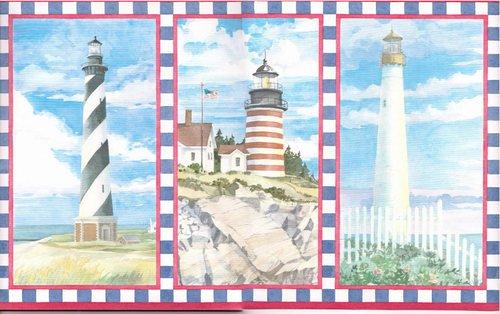 Wallpaper Border Lighthouse Seabrook Theme (Beach Scene Border Wallpaper)