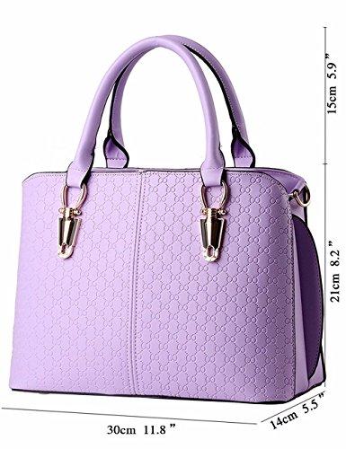 Color Púrpura de Mano de BMKWSG Mujer Bolso para Rojo Piel Cremallera con nazw1P