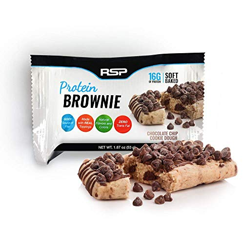 RSP Protein Brownie (12 pk) - 16g of Whey Protein & Gluten Free, Delicious On-The-Go Healthy Snack - Soft Baked Brownie & High Protein Snack, Chocolate Chip Cookie -