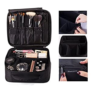 """51Dlg4AlskL. AA300  - SONGMICS 13.5"""" Makeup Train Case Professional Cosmetic Box with Adjustable Dividers 4 Trays and 2 Locks Black UMUC12C"""