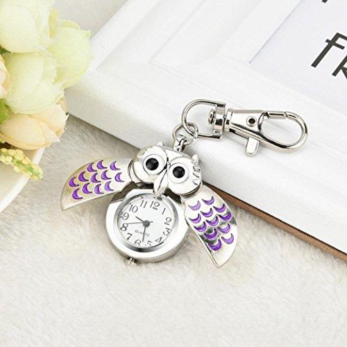 n Women Fashion Gorgeous Owl Watch Clip Pocket Watch Keychain Key Ring Gifts (purple) ()