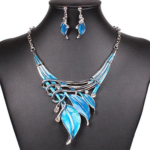 [Girl Era Collar Costume Jewelry Fashion Leaf Art Deco Bib Statement Necklace Dangle Earrings Set(b)] (Costumes Jewelry Online)