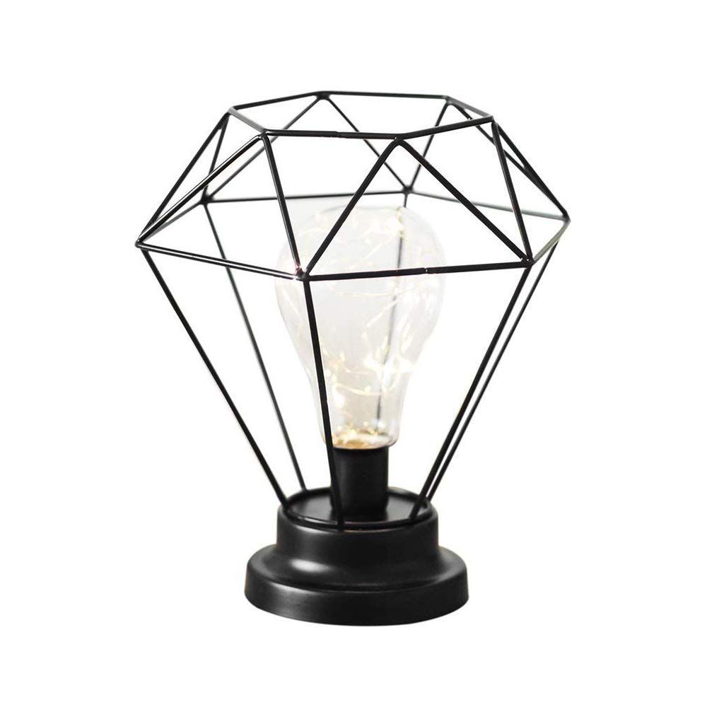 Vintage metal table lamp industrial cage style desk light battery operated bedside and table lamps for living room bedroom office black amazon co uk