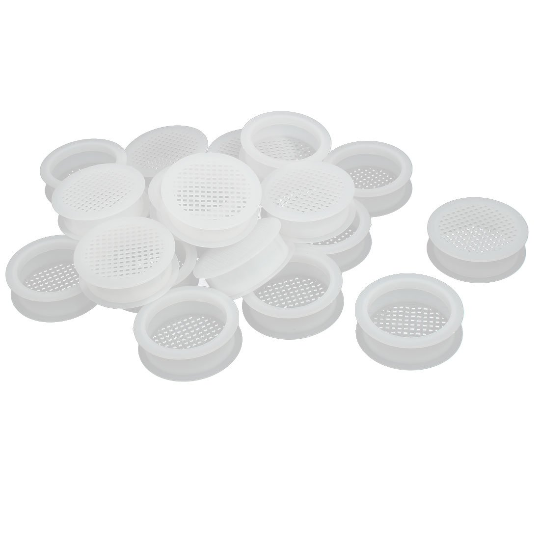 uxcell Shoes Cabinet 67mm Dia 18mm Plywood Thickness Plastic Air Vent Louver Cover 20pcs