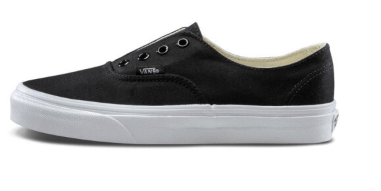 Vans Women's Authentic Gore Skateboarding Shoes B0779JMZF9 5.5 B(M) US/ 4 D(M) US|Black/True White/Brushed Twill