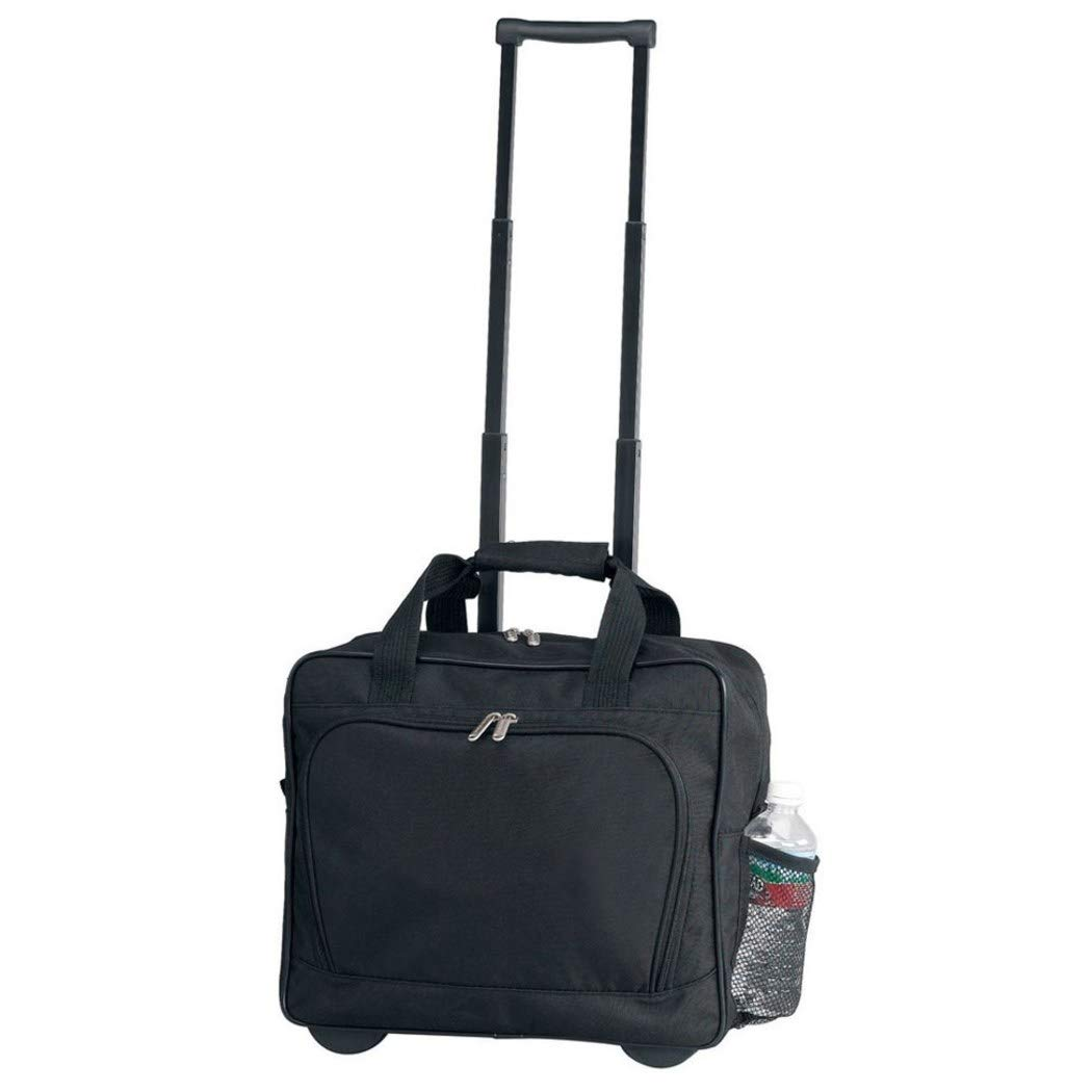 DSOS Black Lightweight Wheeled Briefcase, Wheeling, Fabric Polyester, Solid