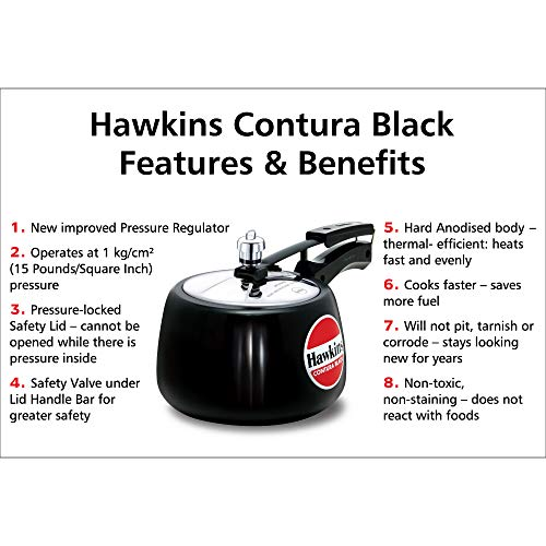 Hawkins CB30 Hard Anodised Pressure Cooker, 3-Liter, Contura Black by Hawkins (Image #2)