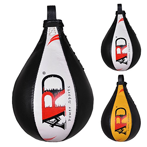 ARD Leather Speed Ball Boxing Punch Bag Punching Pear Training MMA (White)