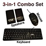 CSI 3-in-1 Combo Set - Keyboard / 3D Optical Mouse/Multimedia Speaker - All in One USB Set - Black
