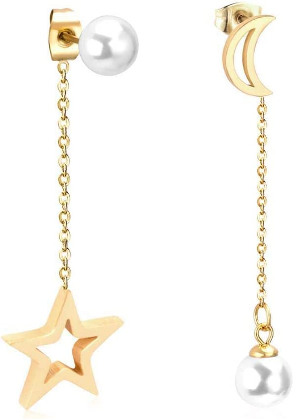 Pendientes Colgantes de Mujer de Moda con Forma de Estrella de Luna con Joyas de Perlas Blancas Pendientes Colgantes de Acero Inoxidable
