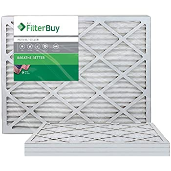FilterBuy 18x24x1 MERV 8 Pleated AC Furnace Air Filter, (Pack of 4 Filters), 18x24x1 - Silver