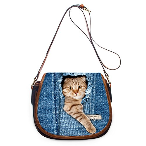 Coloranimal Stylish 3D Animal Cat Denim Pattern Flap Crossbody Shoulder Bags Women (Jean Purse Pattern)