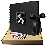 Scrapbook Album, 10 inches Black LUNIQI Photo Collection with Phonto Opening and Gift Bow Knot, 80 DIY Pages Craft Papes for Wedding, Valentines, Graduated, Party Day, Love Moment Recorder