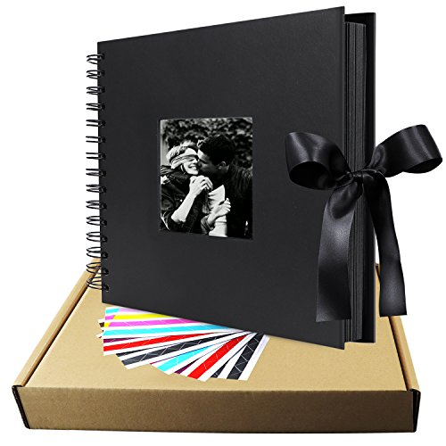 Scrapbook Album, 12 inches Black LUNIQI Photo Collection with Phonto Opening and Gift Bow Knot, 80 DIY Pages Craft Papes for Wedding, Valentines, Graduated, Party Day, Love Moment Recorder - 6 X 6 Scrapbook Albums