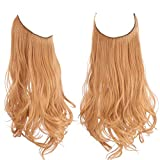 SARLA Colored Halo Hair Extensions Peach Color Curly Short Synthetic Hairpiece 12 Inch 3.5 Oz Hidden Wire Headband for Women Girl Kid Party Heat Resistant Fiber No Clip(M05&Peach)