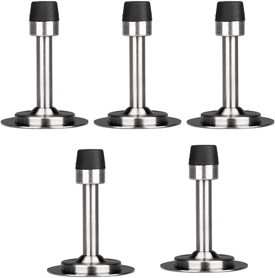 ZSH Pack of 5 Stainless Steel Door Stops Heavy Duty Wall Mounted Door Stop Stopper Rubber Buffer Bumper for Home and Kitchen (with Screws)