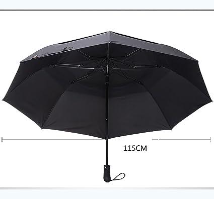 FKYS paraguas Hombres Color puro Paraguas de negocios Mango largo Refuerzos Sobredimensionados Resistencia al viento Doble