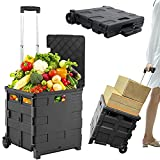 Folding Boot Cart on Wheels with Lid - Shopping Trolley - Lightweight Teacher's Book Cart Fold Up Storage Box Crate Foldable