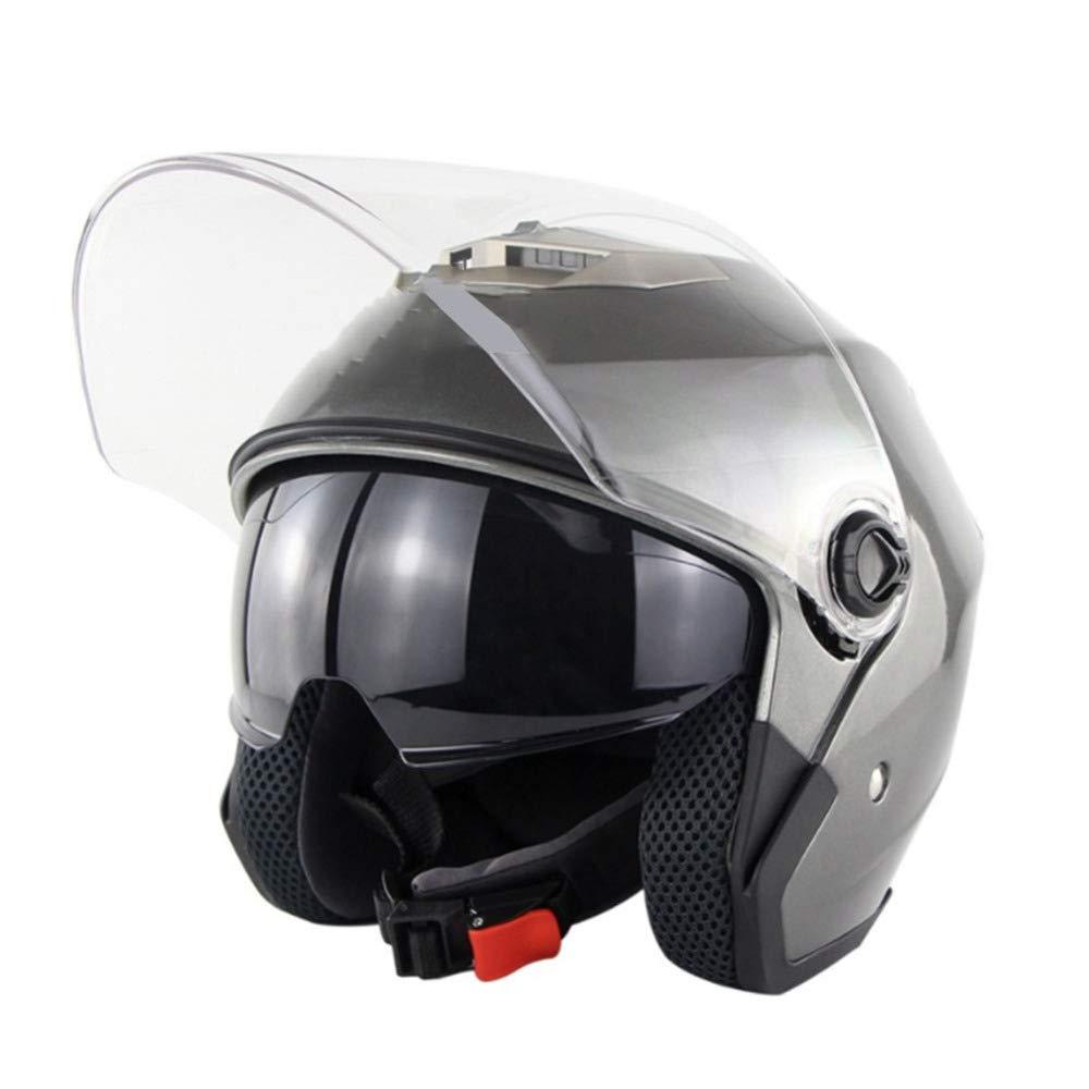 HELOET Motorrad Elektrofahrzeug Doppellinse Helm Männer Und Frauen Halbe Helm Sommer Helm Vier Jahreszeiten Uv-schutzhelm,Grau-XL