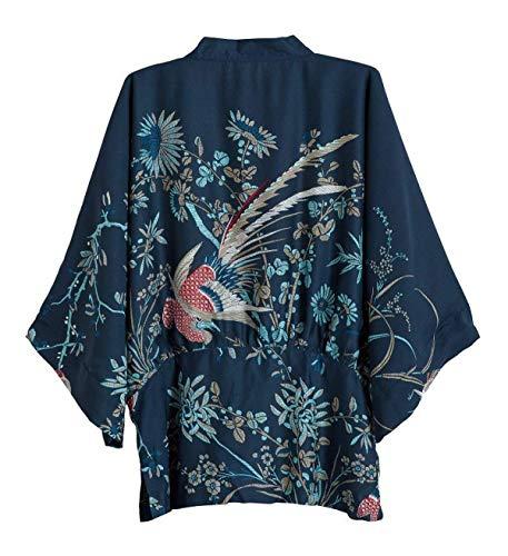 Giacca Giacche Camicetta Stampato Mujeres Donna Eleganti A Lunghe Classiche Outerwear Maglia Autunno Maniche Kimono Primaverile Blu Fashion Cardigan Vintage 8A4PqxwP