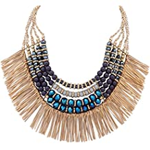 Ethnic Tribal Boho Beads Statement Necklace Fringe Bib Tassel Chunky
