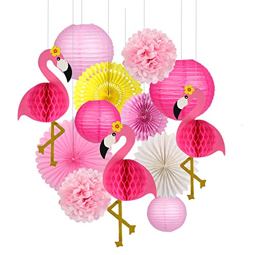 Pink Flamingo Party Honeycomb Decoration Tissue Paper Pom Poms Flowers Paper Fans for Girl Birthday Party Summer Beach Decoration