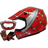 TMS Youth Kids Red Spider Net Dirt Bike Atv Motocross Helmet W/goggles/gloves (Small)