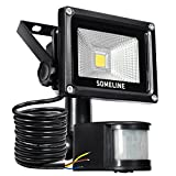 Security Light with Motion Sensor 10W Outdoor Led Floodlight with Pir Outside SOMELINE Floodlights with Se