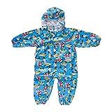 Yumian Children Cartoon Rainwear Waterproof Hooded Rain Coat Outwear Poncho Raincoat (Blue, M)