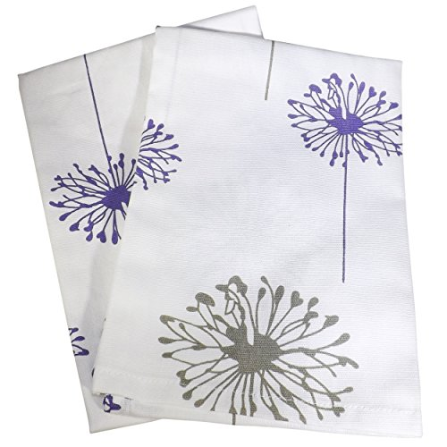 Crabtree Collection Premium Quality Set of 2 Kitchen Dish Towels 100% Cotton Absorbent Tea Towels - Classy Violet Gray Dandelion Design - Ideal 18