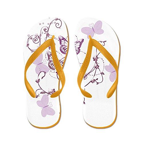 Cafepress Delicate Lavendel Vlinders En Wervelingen Flip Flop - Flip Flops, Grappige Thong Sandalen, Strand Sandalen Oranje