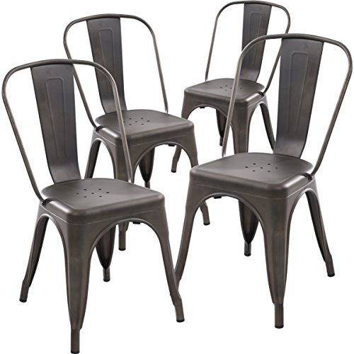 Poly and Bark Tolix Style Bistro A Dining Side Chair (Set of 4), Bronze (Dining Sets 4 Chairs)