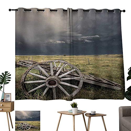 Wagon Wheel Knob (WinfreyDecor Barn Wood Wagon Wheel Sliding Curtains Cloudy Day in Village Farm Aged Vintage Cart Outdoors for Living, Dining, Bedroom (Pair) 55
