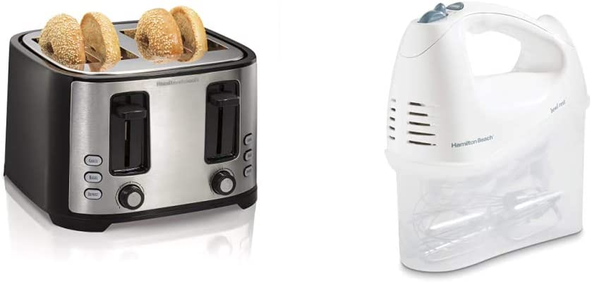 Hamilton Beach 4 Slice Extra Wide Slot Toaster, Black (24633) & Beach 6-Speed Electric Hand Mixer, Beaters and Whisk, with Snap-On Storage Case, White