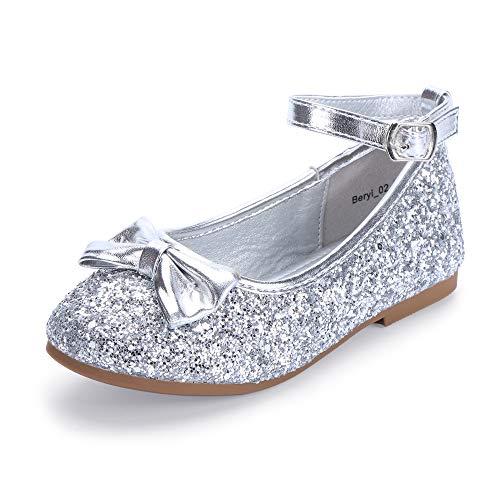 HEHAINOM Toddler/Little Kid Girl's Beryl_02 Ballerina Flats Flower Girl Bows Dress Shoes