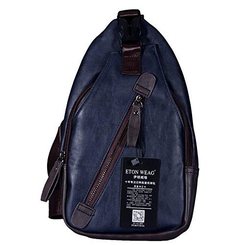 Yiwa Bolsos de cuero de la PU de la PU de la manera de los hombres Multipack Backpack impermeable del bolso de hombro del cuerpo de la cruz Azul