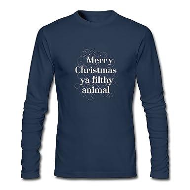 c4af9cc7ea4 Merry Christmas Ya Filthy Animal Tunic Long Sleeve T-Shirt Humor Round  Collar For Husband