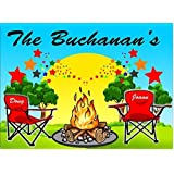 Campground Welcome Sign Campfire With Stars And Red Chairs For Your Camper Add Name 10x14