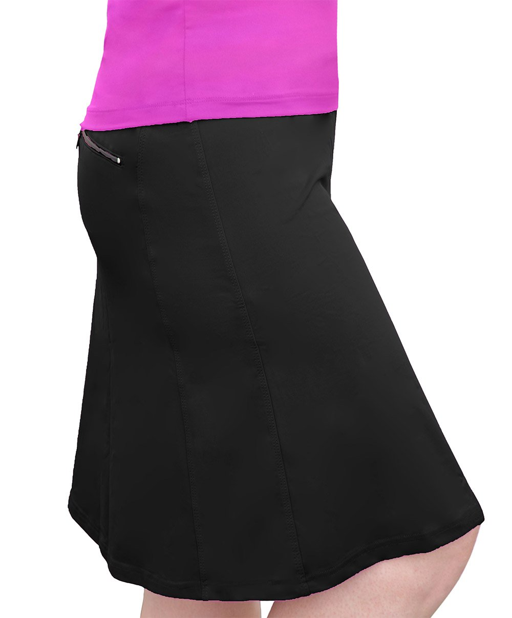 Kosher Casual Women's Modest Knee-Length Swim & Sport Skirt With Built-In Shorts - Skort Style XL Black