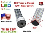 60% More Light 25-Pack Dual V-LED 72W 8Ft Tube Light, Cold White (6000K), Clear Lens with FA8 single pin, T8/T12, 85V-265V AC, 72W - 7200 Lumens (120W Fluorescent equivalent)