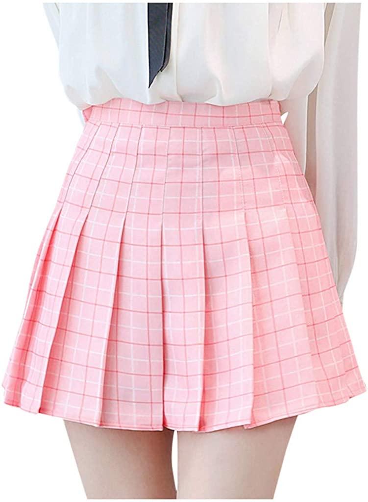 JSPOYOU Women Skirt Fashion High Waist Pleated Mini Skirt Slim Waist Casual Tennis Skirt
