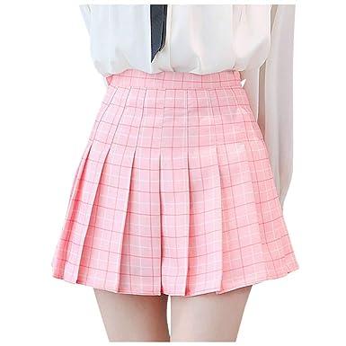 Luotuo - Falda Plisada para Mujer con Cintura Alta, Falda de Tenis ...