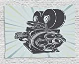 Ambesonne Modern Tapestry, Vintage Movie Camera Figure in Monochrome Color on Starburst Background, Wall Hanging for Bedroom Living Room Dorm, 60 W X 40 L inches, Grey Blue and Sky Blue