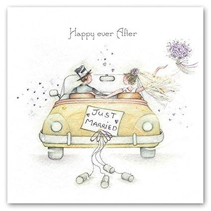 Tarjeta de boda - (BP-HEA05) - Just Married - Coche amarillo ...