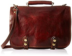 Alberto Bellucci Italian Leather Double Compartment Messenger Bag by Alberto Bellucci